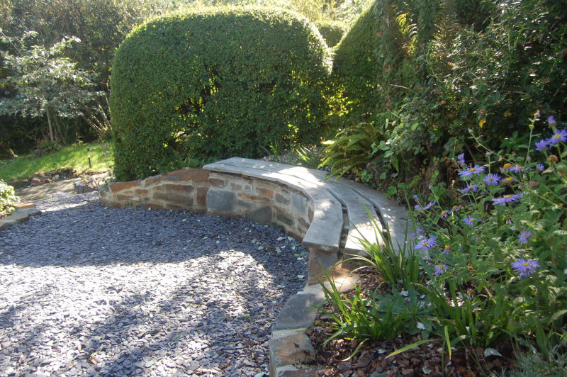 Blue penant Stone and FSC Oak Garden Bench