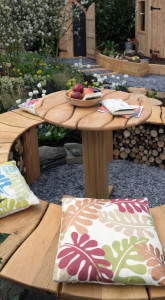 RHS Flower Show Cardiff show garden. Serpentine bench and table.