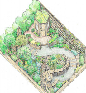 Colour design drawing for RHS Flower Show Cardiff 2015 garden Made fro Gardens: Nurture in Nature drawn by Shani Lawrence Garden Designs