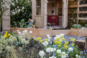 Garden Design in Pembrokeshire showing wildlife friendly planting in low carbon sustainable garden.