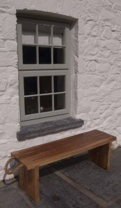 Large bench with rope handles. Number 2 in a set of three benches made for a customer in Pembrokeshire.