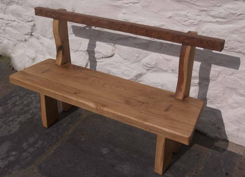 FSC green oak bench. Number one in a set of three individually designed benches.