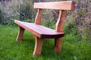 Hand Crafted Oak Garden Bench with the grain accentuated with the Osmo UV Oak protection oil.