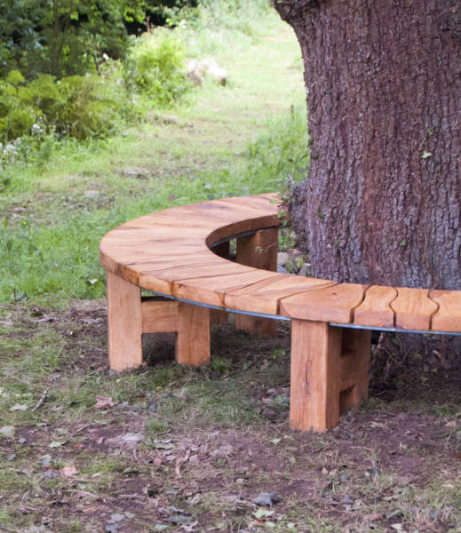 Tree Seat Curved Garden Bench Oak Made For Gardens