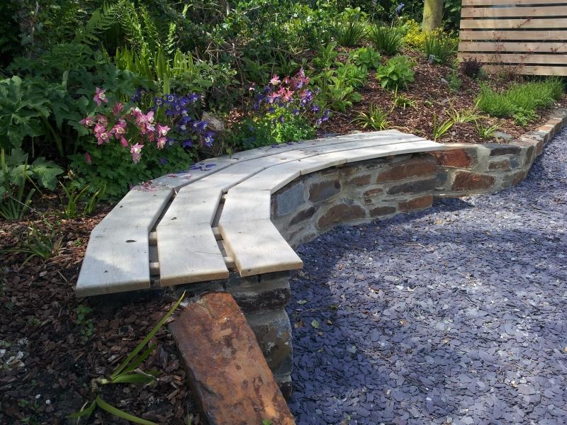 FSC Oak and Stone Garden Bench